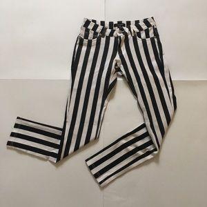 Shinestar Striped Black and White Skinny Jeggings